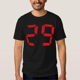 29 twenty-nine red alarm clock digital number tee shirt