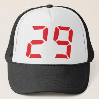 29 twenty-nine red alarm clock digital number trucker hat