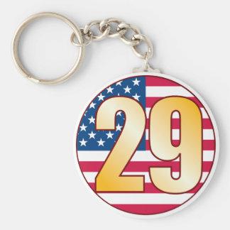29 USA Gold Basic Round Button Keychain