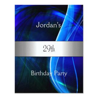 """29na fiesta de cumpleaños de la plata azul del invitación 4.25"""" x 5.5"""""""