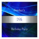 29na fiesta de cumpleaños del borde de plata azul  invitaciones personales