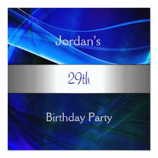 """29na fiesta de cumpleaños del borde de plata azul invitación 5.25"""" x 5.25"""""""