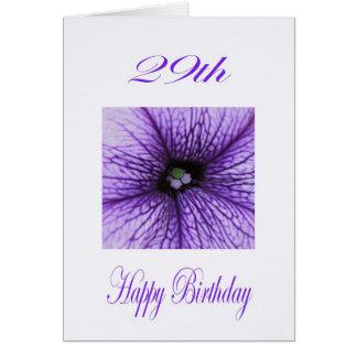 29no flor feliz de la púrpura del cumpleaños tarjeta de felicitación