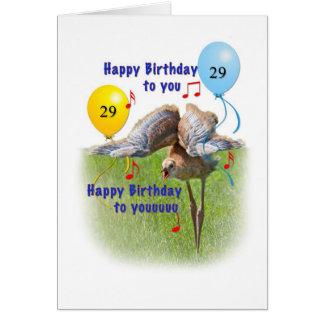 29no Tarjeta de cumpleaños con el pájaro de la grú