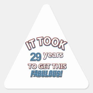 29nos diseños del cumpleaños del año pegatina triangular