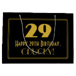 "[ Thumbnail: 29th Birthday — Art Deco Inspired Look ""29"" & Name Gift Bag ]"