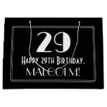 "[ Thumbnail: 29th Birthday: Art Deco Inspired Style ""29"", Name Gift Bag ]"