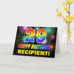 [ Thumbnail: 29th Birthday: Bold, Fun, Fireworks, Rainbow 29 Card ]