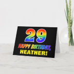 [ Thumbnail: 29th Birthday: Bold, Fun, Simple, Rainbow 29 Card ]