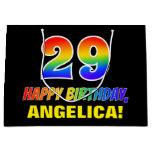 [ Thumbnail: 29th Birthday: Bold, Fun, Simple, Rainbow 29 Gift Bag ]