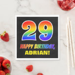 [ Thumbnail: 29th Birthday: Bold, Fun, Simple, Rainbow 29 Napkins ]
