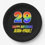 [ Thumbnail: 29th Birthday: Bold, Fun, Simple, Rainbow 29 Paper Plate ]