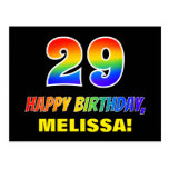 [ Thumbnail: 29th Birthday: Bold, Fun, Simple, Rainbow 29 Postcard ]