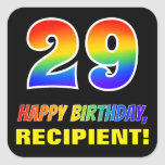 [ Thumbnail: 29th Birthday: Bold, Fun, Simple, Rainbow 29 Sticker ]