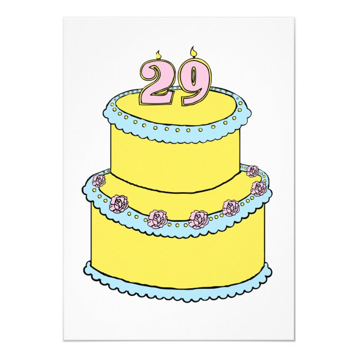Awesome 29Th Birthday Cake Invitation Zazzle Com Personalised Birthday Cards Paralily Jamesorg