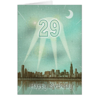 29th Birthday card with a city and spotlights