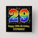 [ Thumbnail: 29th Birthday: Colorful Music Symbols, Rainbow 29 Button ]