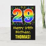 [ Thumbnail: 29th Birthday: Colorful Music Symbols + Rainbow 29 Card ]
