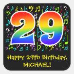 [ Thumbnail: 29th Birthday: Colorful Music Symbols, Rainbow 29 Sticker ]