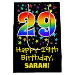 [ Thumbnail: 29th Birthday: Colorful Stars Pattern & Rainbow 29 Gift Bag ]