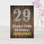 [ Thumbnail: 29th Birthday: Country Western Inspired Look, Name Card ]