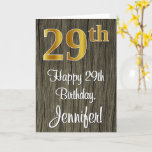[ Thumbnail: 29th Birthday: Elegant Faux Gold Look #, Faux Wood Card ]