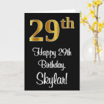 [ Thumbnail: 29th Birthday ~ Elegant Luxurious Faux Gold Look # Card ]