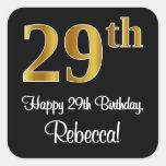 [ Thumbnail: 29th Birthday – Elegant Luxurious Faux Gold Look # Sticker ]