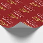[ Thumbnail: 29th Birthday: Elegant, Red, Faux Gold Look Wrapping Paper ]