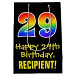 "[ Thumbnail: 29th Birthday: Fun, Bold, Colorful, Rainbow ""29"" Gift Bag ]"