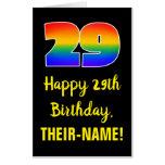 [ Thumbnail: 29th Birthday: Fun, Colorful, Happy, Rainbow # 29 Card ]