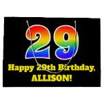 [ Thumbnail: 29th Birthday ~ Fun, Colorful, Vibrant, Rainbow 29 Gift Bag ]