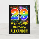 [ Thumbnail: 29th Birthday: Fun Fireworks Pattern + Rainbow 29 Card ]