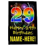[ Thumbnail: 29th Birthday: Fun Fireworks Pattern + Rainbow 29 Gift Bag ]