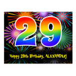 [ Thumbnail: 29th Birthday – Fun Fireworks Pattern + Rainbow 29 Postcard ]