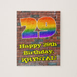 [ Thumbnail: 29th Birthday: Fun Graffiti-Inspired Rainbow 29 Jigsaw Puzzle ]