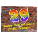 [ Thumbnail: 29th Birthday: Fun, Graffiti-Inspired Rainbow # 29 Gift Bag ]