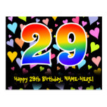 [ Thumbnail: 29th Birthday: Fun Hearts Pattern, Rainbow 29 Postcard ]