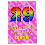 [ Thumbnail: 29th Birthday: Fun Pink Hearts Stripes; Rainbow 29 Gift Bag ]