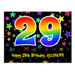 [ Thumbnail: 29th Birthday: Fun Stars Pattern, Rainbow 29, Name Postcard ]