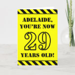 [ Thumbnail: 29th Birthday: Fun Stencil Style Text, Custom Name Card ]
