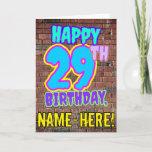 [ Thumbnail: 29th Birthday - Fun, Urban Graffiti Inspired Look Card ]