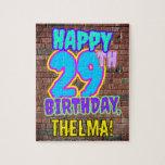[ Thumbnail: 29th Birthday ~ Fun, Urban Graffiti Inspired Look Jigsaw Puzzle ]