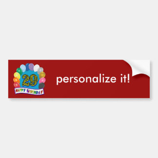29th Birthday Gifts with Assorted Balloons Design Bumper Sticker