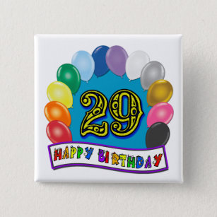 29th Birthday Gifts With Assorted Balloons Design Button