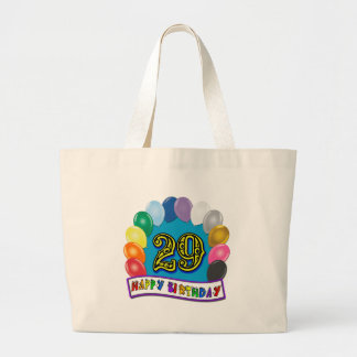 29th Birthday Gifts with Assorted Balloons Design Large Tote Bag
