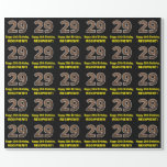 "[ Thumbnail: 29th Birthday: Name & Faux Wood Grain Pattern ""29"" Wrapping Paper ]"