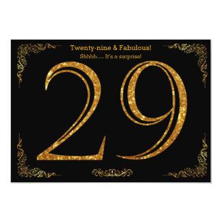 29th Birthday party,Gatsby styl,black gold glitter Card