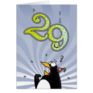 29th Birthday - Penguin Surprise Card