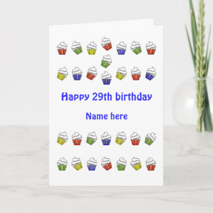 29th Birthday Personalized Cupcakes Card